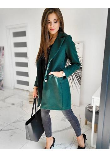 Dámský elegantní kabát se dvěma knoflíky v zelené barvě