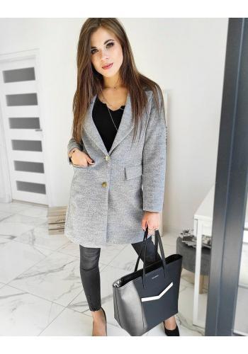 Elegantní dámský kabát světle šedé barvy se dvěma knoflíky