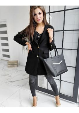 Černý elegantní kabát se dvěma knoflíky pro dámy