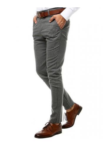 Pánské proužkované kalhoty v tmavě šedé barvě