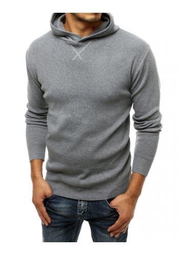 Šedý módní svetr s kapucí pro pány