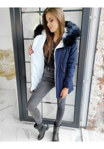 Teplá dámská bunda tmavě modré barvy na zimu