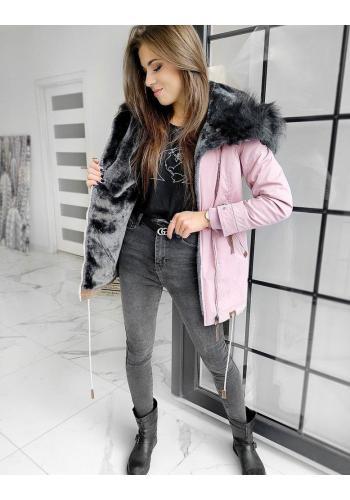 Dámská teplá bunda na zimu v růžové barvě