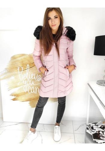 Prošívaná dámská bunda růžové barvy s odepínací kapucí