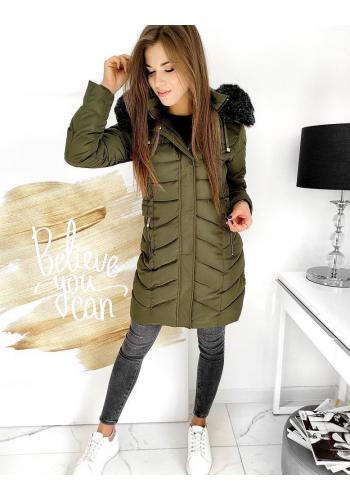Olivová prošívaná bunda s odepínací kapucí pro dámy