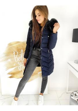 Prošívaná dámská bunda tmavě modré barvy s odepínací kapucí