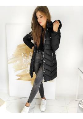 Dámská prošívaná bunda s odepínací kapucí v černé barvě