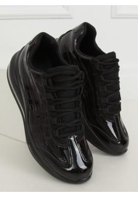 Lakované dámské tenisky černé barvy s vysokou podrážkou