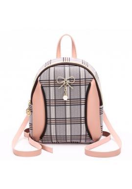 Dámský mini batoh s károvaným vzorem v růžové barvě