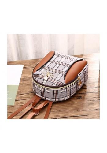 Mini dámský batoh hnědé barvy s károvaným vzorem