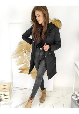 Černá dlouhá bunda s prošíváním pro dámy