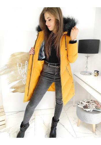 Dámská dlouhá bunda s prošíváním ve žluté barvě