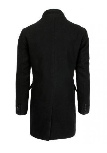 Jednořadý pánský kabát černé barvy na zimu