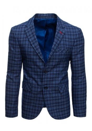 Kostkované pánské sako tmavě modré barvy