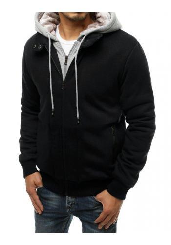 Zateplená pánská mikina černé barvy s kapucí