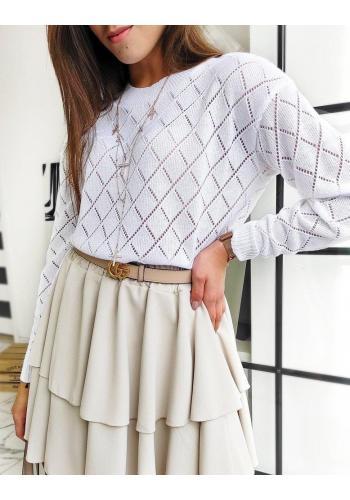 Bílý ažurový svetr pro dámy