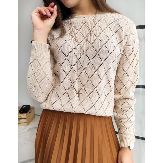 Ažurový dámský svetr béžové barvy