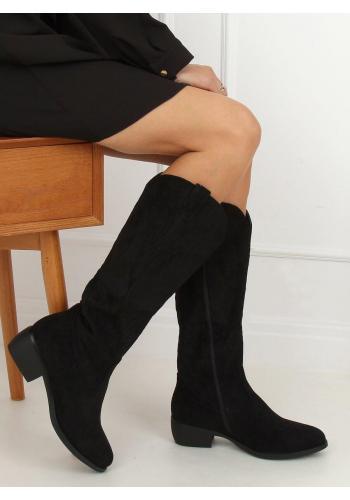 Černé semišové kovbojky s výšivkou pro dámy