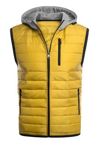 Pánská oteplená vesta s kapucí ve žluté barvě