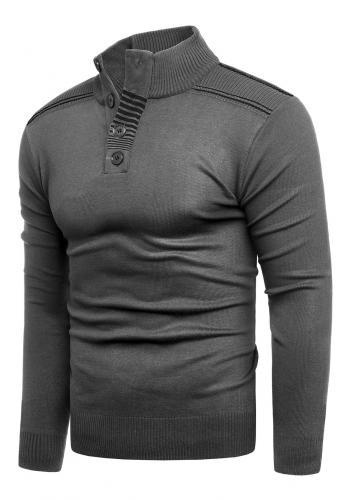 Módní pánský svetr šedé barvy se zapínaným výstřihem