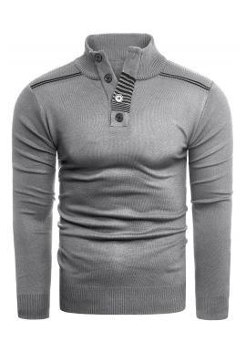 Pánský módní svetr se zapínaným výstřihem v šedé barvě
