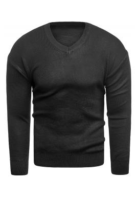 Klasický pánský svetr černé barvy s výstřihem do V