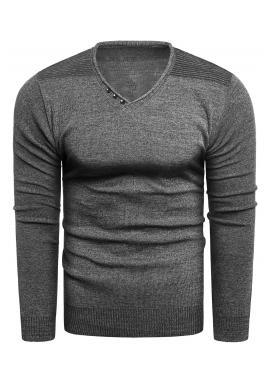Módní pánský svetr tmavě šedé barvy s výstřihem do V