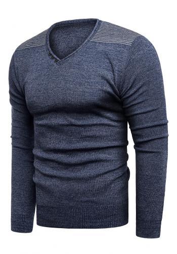 Pánský módní svetr s výstřihem do V v tmavě modré barvě
