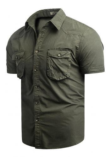 Bavlněná pánská košile kaki barvy s krátkým rukávem