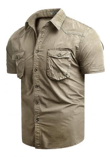 Béžová bavlněná košile s krátkým rukávem pro pány