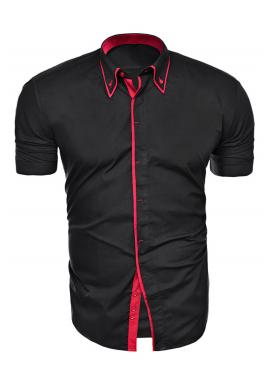 Černo-červená košile s krátkým rukávem pro pány