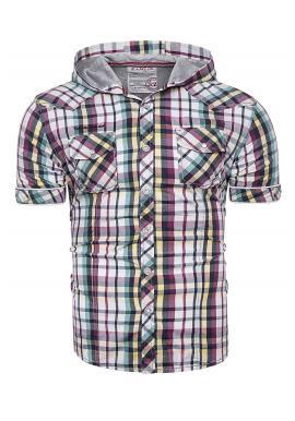 Pánská barevná kostkovaná košile s kapucí