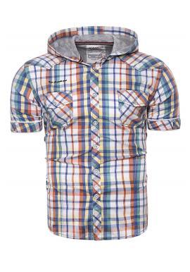 Barevná kostkovaná košile s kapucí pro pány