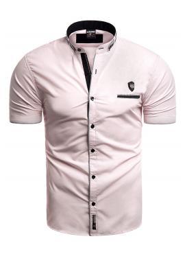 Pánská košile s krátkým rukávem v růžové barvě