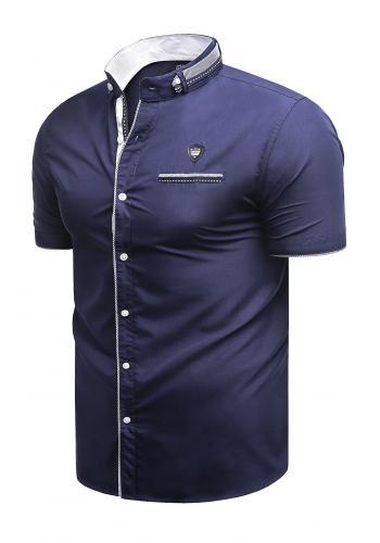 Tmavě modrá košile s krátkým rukávem pro pány