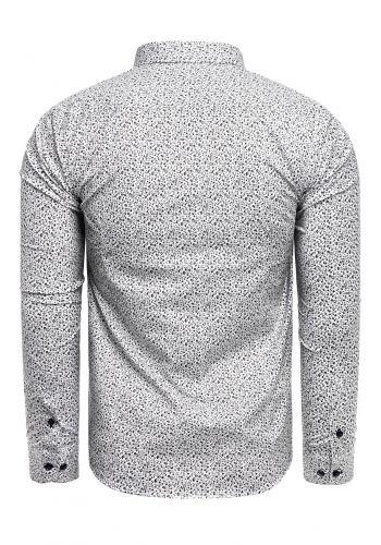 Vzorovaná pánská košile bílé barvy s dlouhým rukávem