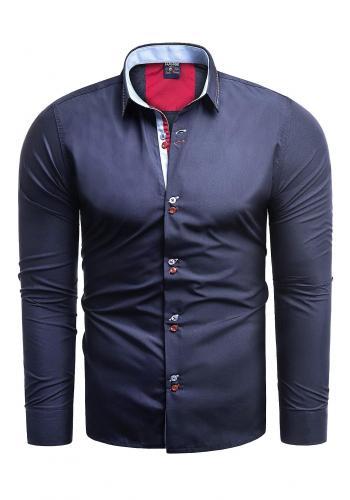 Tmavě modrá elegantní košile slim fit pro pány