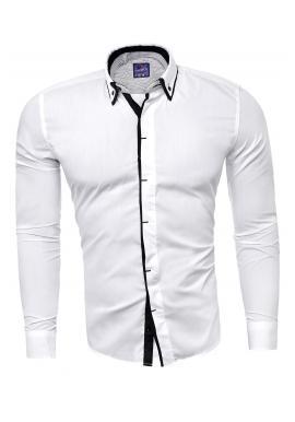 Bílé přiléhavé košile s dlouhým rukávem pro pány