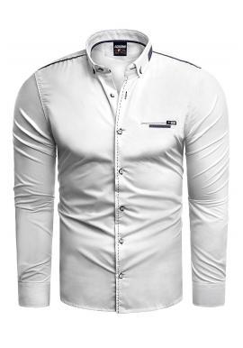 Pánská klasická košile s dlouhým rukávem v bílé barvě