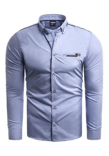 Modrá klasická košile s dlouhým rukávem pro pány