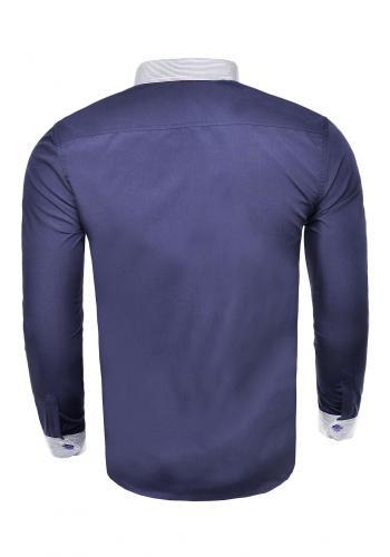 Elegantní pánské košile tmavě modré barvy s dlouhým rukávem