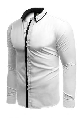 Bílá slim fit košile s dlouhým rukávem pro pány