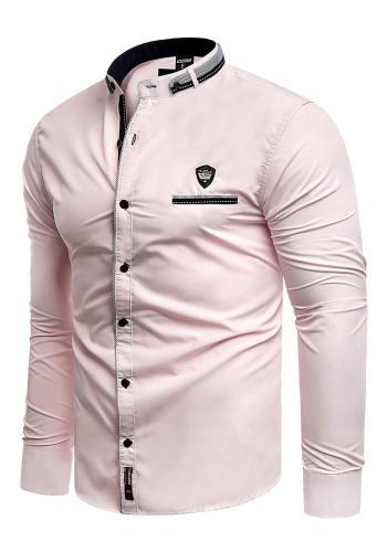 Klasická pánská košile růžové barvy s dlouhým rukávem