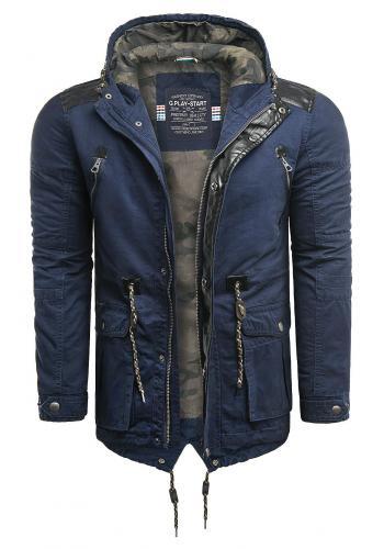 Tmavě modrá přechodná bunda s kapucí pro pány
