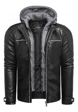 Kožená pánská bunda černé barvy s prošíváním