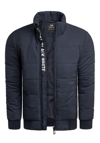 Tmavě modrá zimní bunda s prošíváním pro pány