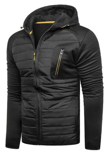 Pánská přechodná bunda s kapucí v černé barvě