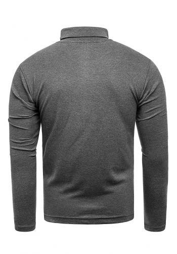 Pánský bavlněný rolák v tmavě šedé barvě
