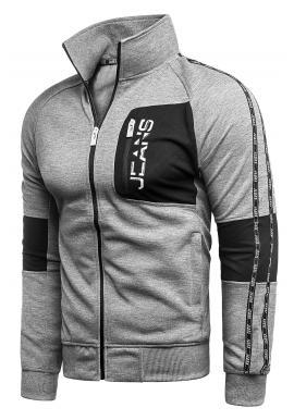 Pánská sportovní mikina bez kapuce v šedé barvě