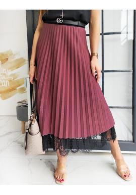 Bordová plisovaná sukně s krajkou pro dámy